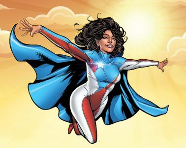 Superheroine La Borinqueña in flight, arms spread