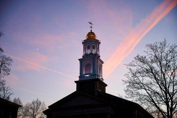 The cupola of Colgate Memorial Chapel at sunset