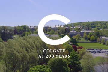 """Campus scenic with """"Colgate at 200 Years"""" wordmark"""