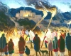 An illustration of a crowd of people watching two individuals carry large torches toward a bonfire.