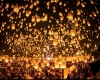 Fire lanterns fill the night sky