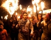 Kurdish in a nighttime torchlight procession