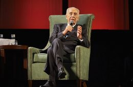 Shimon Peres, former prime minister of Isreal, speaking at Global Leaders 2014