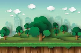 Illustration of trees in front of a cityscape