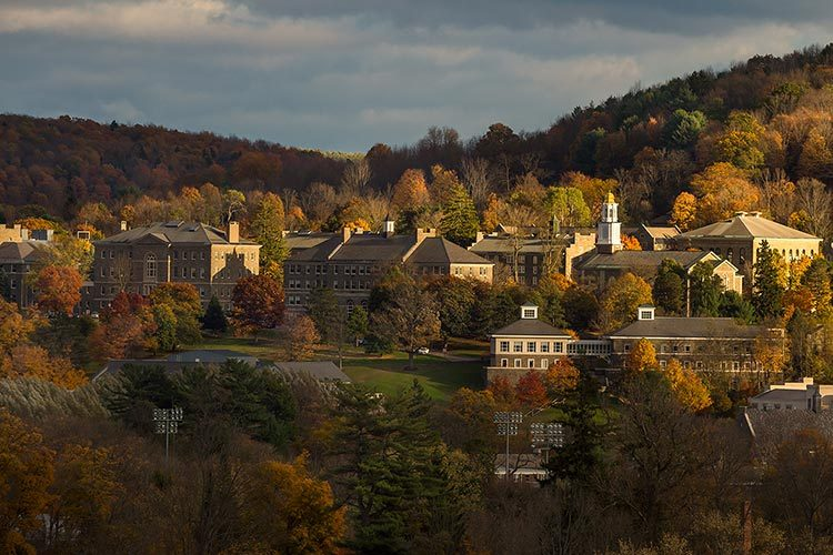 Colgate's campus scene from afar amidst fall foliage