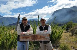 Colgate officials at the Patagonia Sur forest in Chile