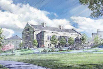 Architect's sketch of Benton Hall