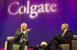 Vice President Joe Biden talks onstage with university President Brian W. Casey