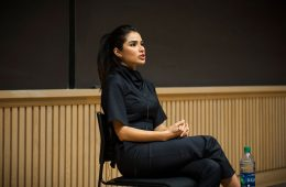 Actress Diane Guerrero speaks to students in Love Auditorium.