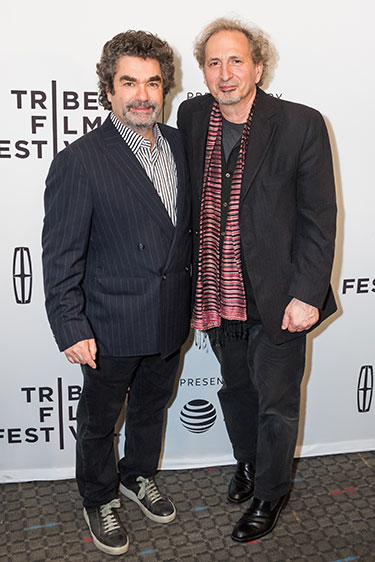 Filmmaker Joe Berlinger '83 (left) and Professor Peter Balakian at the Tribeca Film Festival.