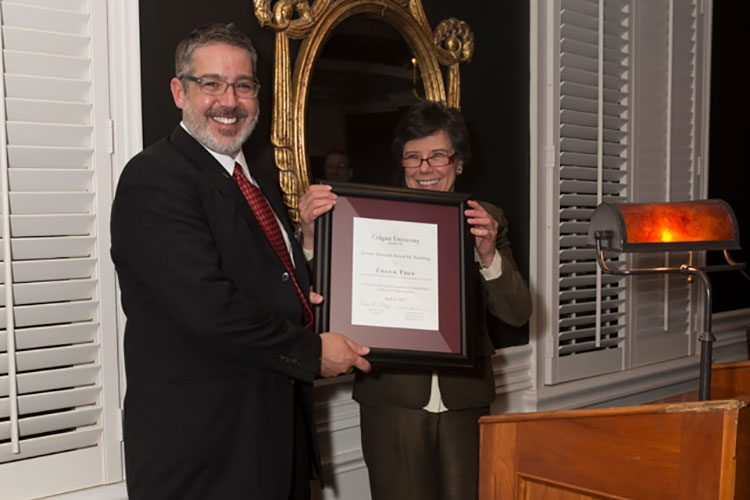 Professor Frank Frey and Interim Provost and Dean of the Faculty Constance Harsh hold Balmuth Award
