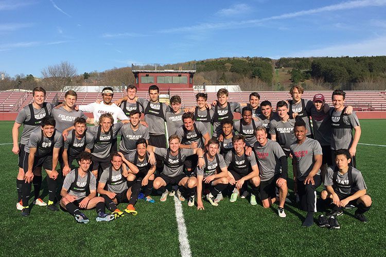 Colgate men's soccer team photo with Rob Stone '91