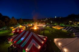 Reunion tents at night from above