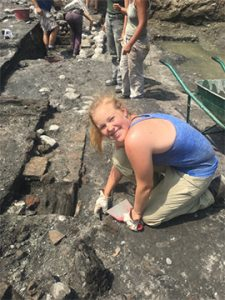 Molly Nelson '19 at an archaeological dig site in Italy