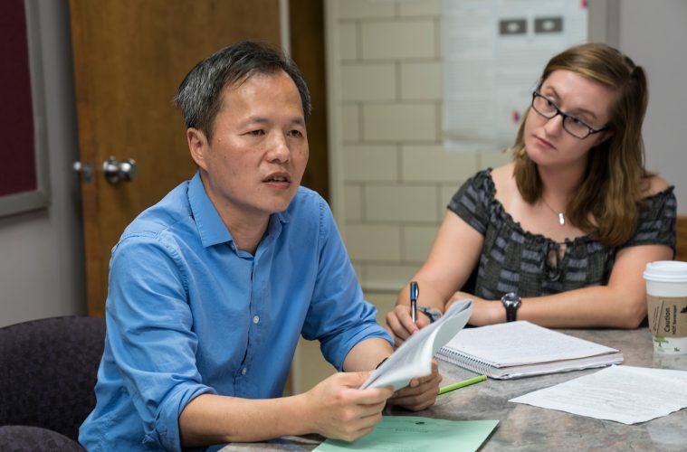Wan-chun Liu, Assistant Professor of Neuroscience, teaches a class.