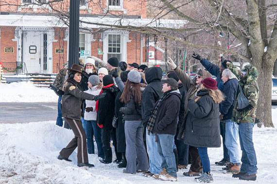 Extras on the set of the Pottersville movie