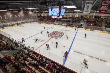 The Colgate Men's Hockey Team plays a game in the new Class of '65 Arena.