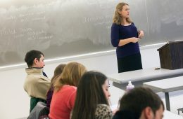 Assistant Professor of Political Science Danielle Lupton teaching a class in 2014.