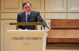 Retired general David Petraeus stands at Colgate University podium delivering a speech during Family Weekend 2017