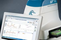 Seahorse scanner sits on desk with computer screen displaying sample analysis