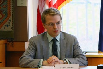 File image of Ronan Farrow sitting at a desk.