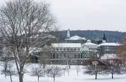 Colgate University campus in winter
