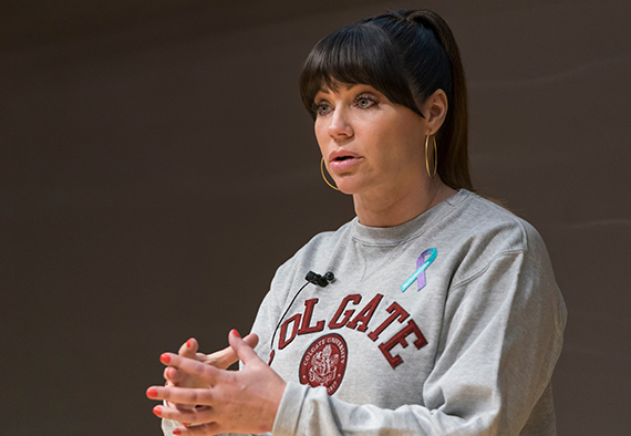 Sexual assault survivor Brenda Tracy speaks at Colgate