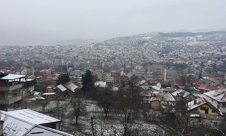 A landscape view of Sarajevo taken by a student participant in the Colgate SRS group.