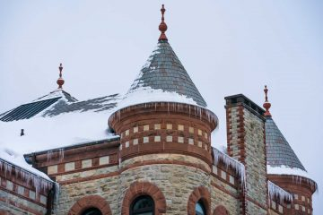 James B. Colgate Hall crusted with snow and ice