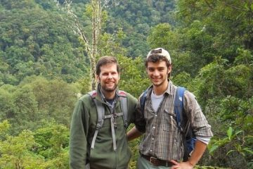 Eddie Watkins and Weston Testo '12 are in the field researching