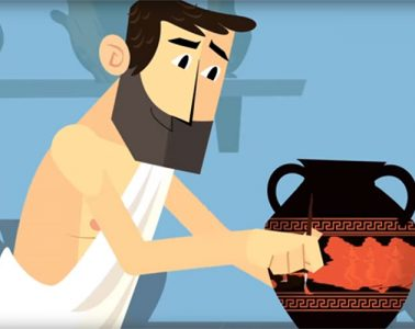 Cartoon illustration of an ancient Athenian in a toga paint a piece of pottery