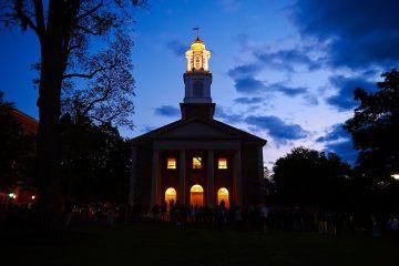Chapel lights at nighttime