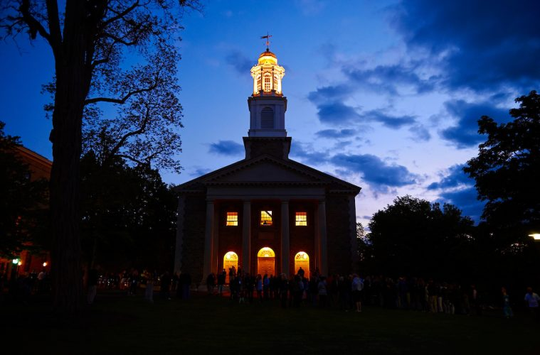 Chapel lights at nighttime