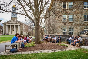 Colgate University outdoor class in the Quad