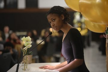 Student Jehdeiah Mixon at the Office of Undergraduate Scholars gala