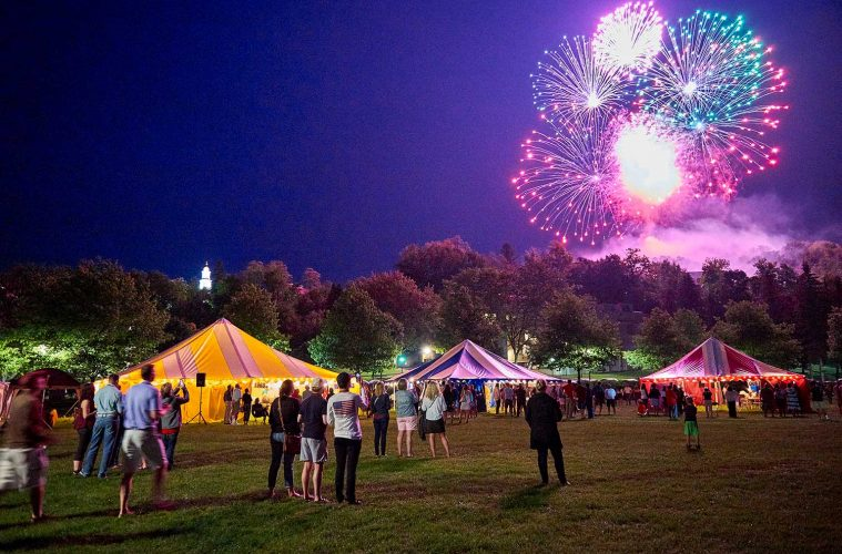 Fireworks burst over tents at Reunion 2018