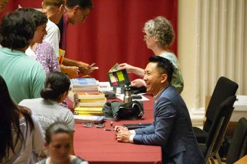 Author Viet Thanh Nguyen with members of the Colgate community following his 2018 Living Writers presentation
