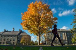 fall foliage and student