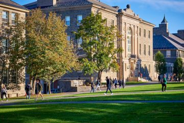 Students walking on the Academic Quad.