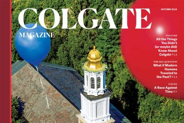 Cover of new Colgate Magazine showing balloons floating by chapel spire