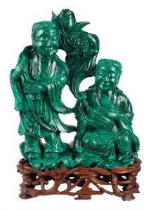 sculpture carved in malachite of two figures