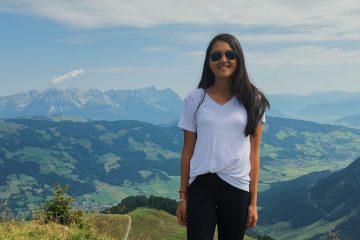 Eliza Lloyd portrait in front of mountain landscape
