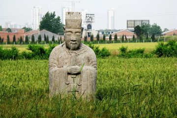 A half-buried funerary figurine from the tomb of the Ming Prince of Qin, outside today's Xi'an, the provincial seat of Shaanxi Province (Photo by David Robinson)