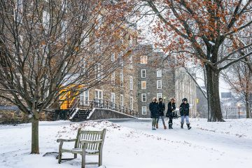 Students walking on the quad in the winter