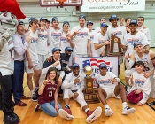 Colgate players and mascot pose with trophy and Patriot league logo