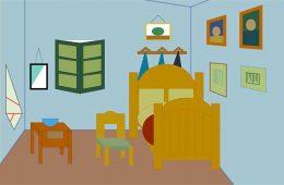 Bedroom in Arles, circa 1888, by Vincent van Gogh, recreated via computer by Hayley Jackson '22