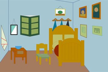Bedroom in Arles, circa 1888, by Vincent van Gogh, recreated via computer by Hayley Jackson '22