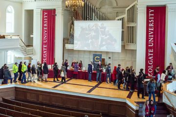 Charter Day event participants on Memorial Chapel Stage