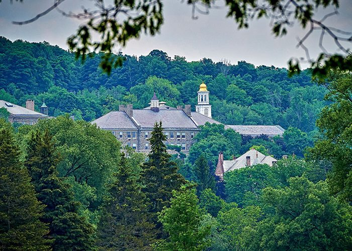 A scenic view of campus taken from the Seven Oaks Golf Course