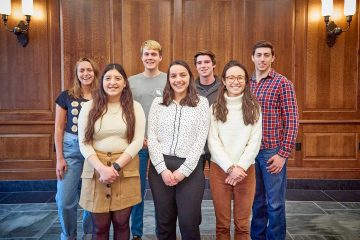 Watson awardee Alina Sabyr '19 (front right) with fellow national and international scholarships recipients. BACK ROW: Jennifer Lundt '19, Jacob Watts '21, Scott Adler '19, William Rosencrans '19 FRONT ROW: Elizabeth Gonzales '19, Oneida Shushe '19, Alina Sabyr '19